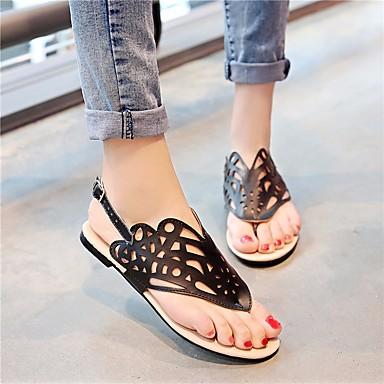 Bout ouvert Plat Noir Confort Polyuréthane Chaussures Blanc 06681789 Boucle Argent Talon Femme Sandales Eté gwH08xq6