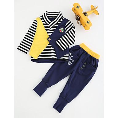 Jungen Kleidungs Set Baumwolle Frühling Herbst Langarm Streifen Blau
