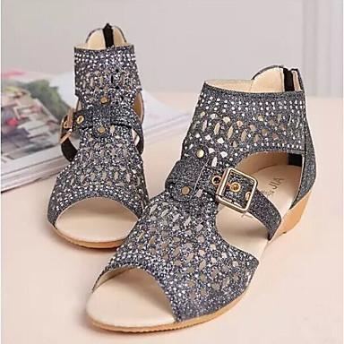 Pentru femei PU Vară Confortabili Sandale Toc Jos Auriu / Negru / Bej