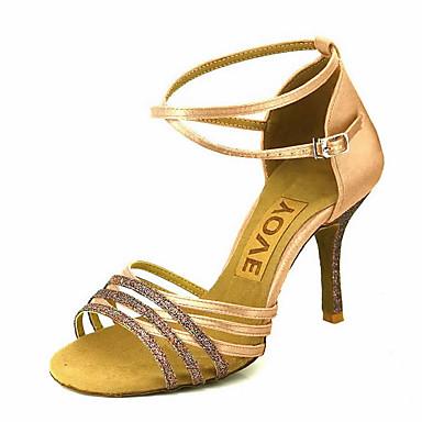 Mujer Zapatos de Baile Latino / Zapatos de Salsa Satén Sandalia / Tacones Alto Hebilla / Corbata de Lazo Tacón Personalizado Personalizables Zapatos de baile Bronce / Almendra / Nudo / Rendimiento