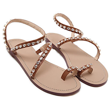 Marron Plat Confort Paillette Chaussures Sandales 06671826 Talon Eté Polyuréthane Brillante Femme zfUw1qZ