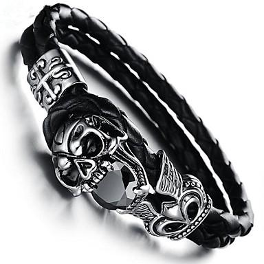 billige Motearmbånd-Kubisk Zirkonium Armringer Lær Armbånd geometriske Hodeskalle Vintage Lær Armbånd Smykker Svart Til Gave Daglig