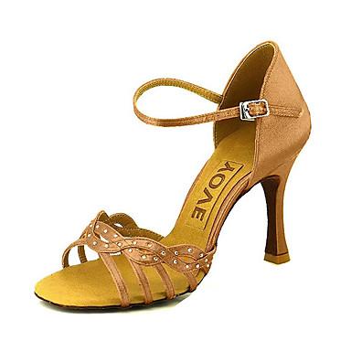 Chaussures de danse(Noir / Bleu / Jaune / Rose / Violet / Rouge / Blanc) -Personnalisables-Talon Personnalisé-Satin-Latine / Salsa , red , us10.5 / eu42 / uk8.5 / cn43