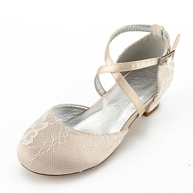 765e8fb5a020 Girls' Lace Heels Little Kids(4-7ys) Comfort / Ballerina / Ankle Strap  Rhinestone / Buckle / Lace-up Silver / Champagne / Ivory Summer / Fall /  Wedding ...