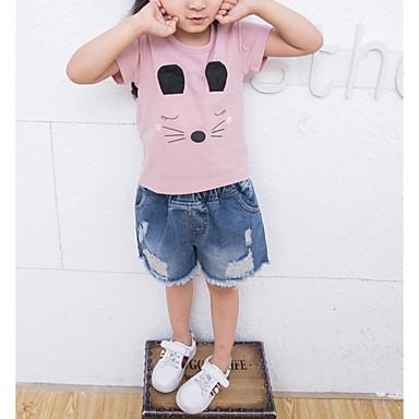 Dzieci Dla dziewczynek Aktywny Nadruk Krótki rękaw Poliester T-shirt Biały 100