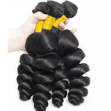 6 pachete Păr Indian Ondulat Păr Natural Umane tesaturi de par / Extensii din Păr Natural 8-28 inch Culoare naturală Umane Țesăturile de par Fără calotă Design Modern / Cea mai buna calitate / cald