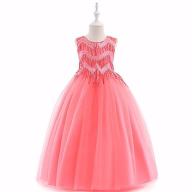 Χαμηλού Κόστους Φορέματα για κορίτσια-Παιδιά Κοριτσίστικα Ενεργό Βασικό Πάρτι Γενέθλια Μονόχρωμο Πούλιες Φιόγκος Φούντα Αμάνικο Μίντι Βαμβάκι Πολυεστέρας Φόρεμα Ανθισμένο Ροζ