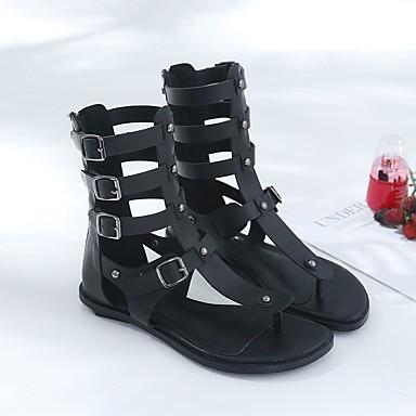 Talon Mode la Boucle Gladiateur Plat Chaussures Bout 06716656 Bottes Eté Sandales pointu Femme Polyuréthane à Noir YpzOA0x