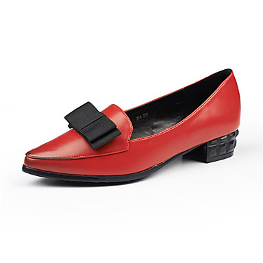 Damskie Obuwie PU Lato Comfort Mokasyny i pantofle Gruby obcas Black / Brown / Czerwony