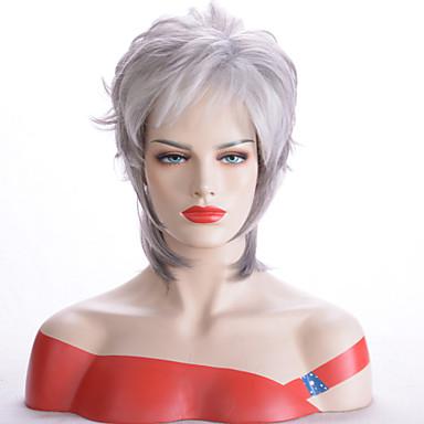 ieftine Peruci Dantelă Sintetice-Peruci Sintetice Ondulat Stil Frizură Pixie Fără calotă Perucă Argintiu Argintiu Păr Sintetic Pentru femei Rezistent la Căldură / sintetic / O noua sosire Argintiu Perucă Scurt Perucă Cosplay / Da