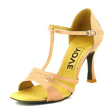 Mulheres Sapatos de Dança Latina / Sapatos de Salsa Cetim Sandália / Salto Presilha / Cadarço de Borracha Salto Personalizado Personalizável Sapatos de Dança Bronze / Amêndoa / Nú / Espetáculo
