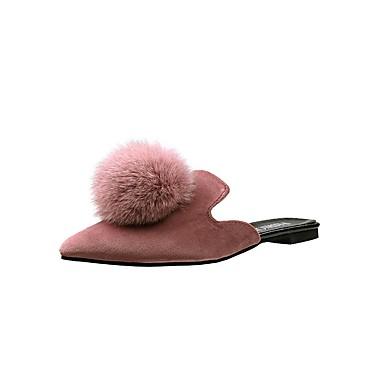 Verano pantuflas 06682966 Mujer Zapatos y Zuecos Rosa Confort Plano Aterciopelado Negro Tacón FrFEnw7PYq