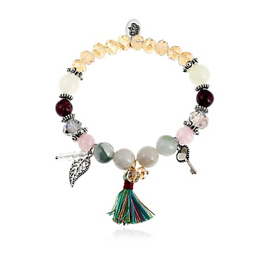 abordables Bracelet-Bracelet à Perles Bracelet Pendentif Femme Forme de Feuille dames Mode Coloré Bracelet Bijoux Arc-en-ciel pour Quotidien