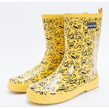 Femme Talon Mi Bottes Bottes Automne mollet Bottes pluie Chaussures Latex 06683677 Fuchsia Jaune Bottier de rqn04rx