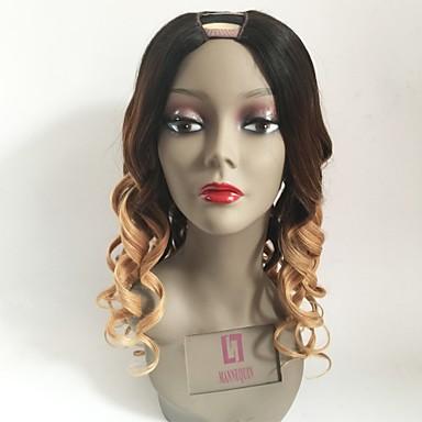 Remy Human Hair U Part Wig Peruvian Hair Wavy Blonde Wig Layered