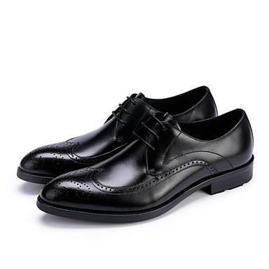 Męskie Buty Nappa Leather / Skórzany Jesień Comfort Oksfordki Black / Burgundowy