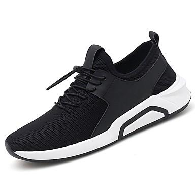 Męskie Buty Dzianina / Tiul Lato Comfort / Lekkie podeszwy Tenisówki Black / Czerwony / Black / White