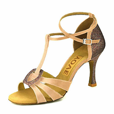 e7523d9dcee5 Women s Latin Shoes   Salsa Shoes Satin Sandal   Heel Buckle   Ribbon Tie  Customized Heel Customizable Dance Shoes Bronze   Almond   Nude    Performance ...