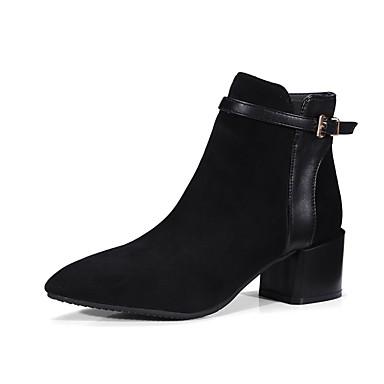 Femme Chaussures Similicuir Hiver Bottes à la Mode Bottes Talon Demi Bottier  Bout pointu Bottine   Demi Talon Botte Boucle Noir   Vert   Bourgogne bbdfbd 0e8e415c2240