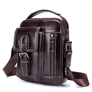 cheap Bags-LAOSHIZI Men's Bags Leather Shoulder Bag Zipper Coffee / Brown
