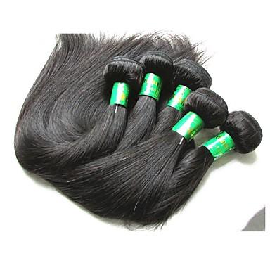 baratos Extensões de Cabelo Natural-5 pacotes Cabelo Indiano Liso 10A Cabelo Virgem Cabelo Natural Remy Extensões de Cabelo Natural Côr Natural Tramas de cabelo humano Nova chegada Venda imperdível Peruca Afro Americanas Extensões de