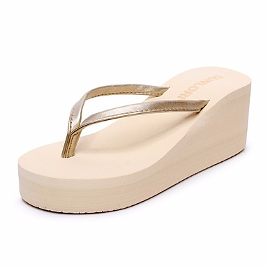 voordelige Damespantoffels & slippers-Dames Slippers & Flip-Flops Sleehak Open teen  PU Comfortabel Zomer Zwart / Beige / zwart / wit