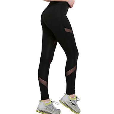 9979a83c2119a Mujer Pantalones de yoga - Negro Deportes Hueco Malla Medias   Mallas  Largas   Leggings Running