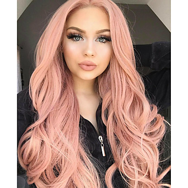 Synthetic Lace Front Wig Women s Wavy Middle Part 150% Density Synthetic  Hair Women   Synthetic   Fashion Rose Pink Wig Long Lace Front Rose Gold    Glueless b8f248ece