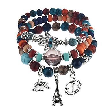 abordables Bracelet-Bracelet à Perles Bracelets de mémoire Empiler Résine Eléphant dames Bohème Bracelet Bijoux Arc-en-ciel Marron Rouge Main de Fatma pour Cadeau Quotidien
