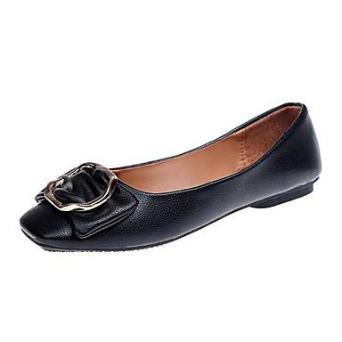 Women's Shoes PU(Polyurethane) Spring Comfort Flats Flat Heel Square / Toe White / Black / Square Pink 8a6ba9