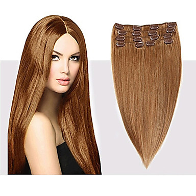cheap Human Hair Extensions-Febay Clip In Human Hair Extensions Straight Human Hair Human Hair Extensions 14-24 inch Blonde Brown 7pcs / pack Multi Color Shedding Free Tangle Free Women's Medium Brown / Bleached Blonde