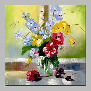 Hang-Malowane obraz olejny Ręcznie malowane - Martwa natura / Kwiatowy / Roślinny Tradycyjny Brezentowy