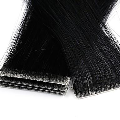 voordelige Extensions van echt haar-Neitsi Tape-in Extensions van echt haar Recht Mensen Remy Haar Verlenging Braziliaans haar Zwart Blond 1pack Feest uitbreiding nieuw Dames Blonde
