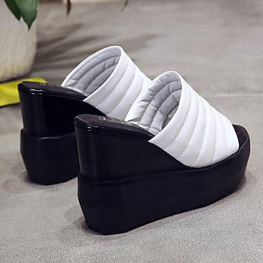 Tacón Zapatillas Mujer PU Negro flip Dedo Zapatos y Cuña flops 06681582 redondo Verano Confort Blanco gI8Hg