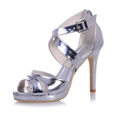 Femme Mariage Printemps Bleu Boucle Argent Deux Aiguille amp; été Or ouvert Bout Cuir Sandales Chaussures D'Orsay 06700146 Verni Talon Pièces rAF4rwx