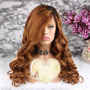 povoljno Perike i ekstenzije-Remy kosa Lace Front Perika Stepenasta frizura Beyonce stil Brazilska kosa Wavy Zlatna Perika 130% Gustoća kose s dječjom kosom 100% Djevica Žene Kratko Srednja dužina Dug Perike s ljudskom kosom