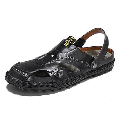 Men's Comfort Shoes Cowhide Summer Sandals Black Brown / Blue / Light Brown Black 5e009f