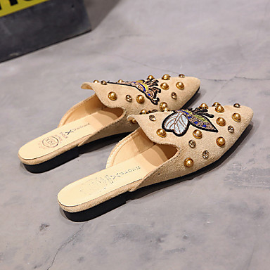 Polyuréthane amp; pointu Eté Sabot Noir Marche Talon Femme Confort 06713839 Plat Kaki Chaussures Mules Bout gnqFwX5