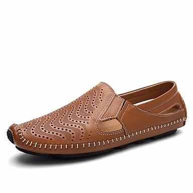Męskie Komfortowe buty Skóra bydlęca Lato Mokasyny i buty wsuwane Biały / Czarny / Jasnobrązowy