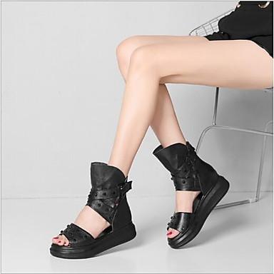 Printemps semelle Hauteur Femme Confort de Chaussures Noir Bout Sandales Cuir 06694403 compensée ouvert été 8yxwwSHYEq