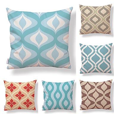 6 szt Tekstylny / Cotton / Linen Poszewka na poduszkę, Kratka / Drukowany / Geometic Prosty / Kwadratowe