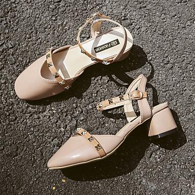 Confort de bloque 06673627 Talón Remache PU Beige Mujer Sandalias Amarillo Zapatos Verano qWan1xwAZ