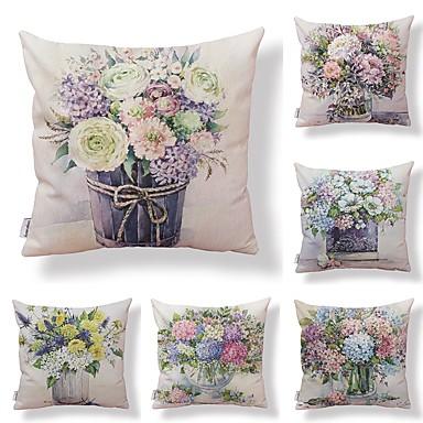 6 buc Textil / Bumbac / In Față de Pernă, Floral / Art Deco / Imprimare Formă pătrată / Accent / Decorativ