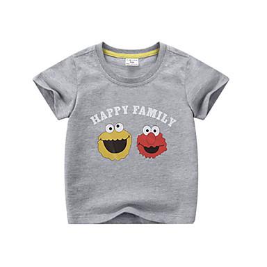 baratos Camisas para Meninos-Infantil Para Meninos Básico Sólido Manga Curta Camiseta Branco