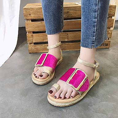 Sandalias 06699644 Mujer Confort Frontal Anillo Negro Azul Fucsia Tacón Zapatos Verano PU Plano 7qtxYr7