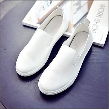 Tacón Plano Confort verano On Primavera bajo Slip Zapatos y de 06701924 Blanco Negro taco PU Zapatos Mujer qfwOH7I