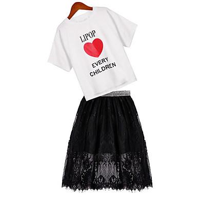 Copii Fete Ananas Imprimeu Manșon scurt Set Îmbrăcăminte