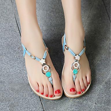 Beige Negro Zapatos Azul Confort PU Plano Verano 06713619 Sandalias Tacón Mujer p80qZw8