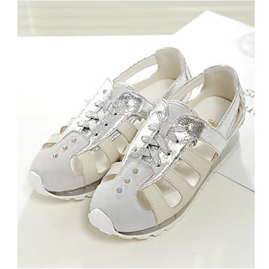 Pentru femei Piele nubuc / Piele Primavara vara Confortabili Sandale Creepers Vârf rotund Auriu / Argintiu
