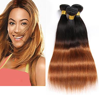 3 pakker Brasiliansk hår Rett Ubehandlet hår / Ekte hår Nyanse 8-26 tommers Nyanse Hårvever med menneskehår Lugtfri / Naturlig / Beste kvalitet Hairextensions med menneskehår